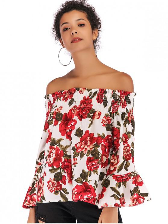 unique Floral Flare Sleeve Off Shoulder Blouse - WHITE L