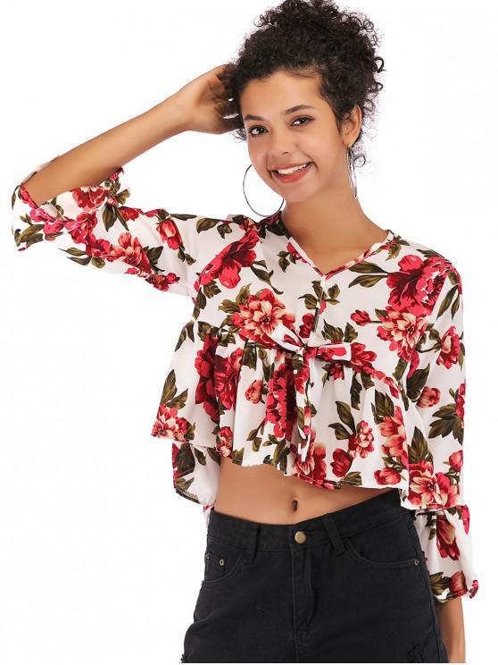 6ef646790f 48% OFF  2019 Flare Manga Floral Blusa Curta Com Branco