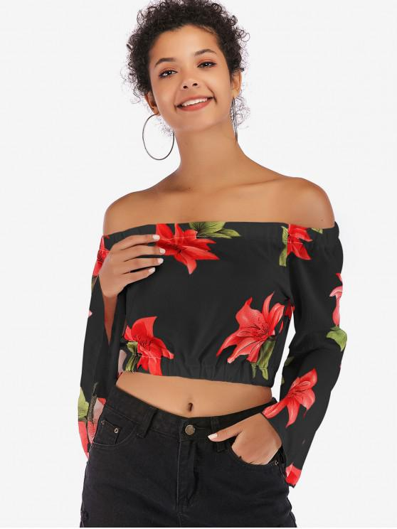 trendy Flare Sleeve Flower Print Crop Blouse - BLACK XL