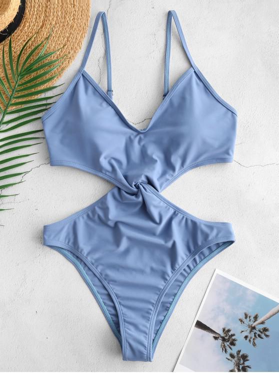 fashion ZAFUL Cami Twisted Monokini Swimsuit - BLUE KOI L