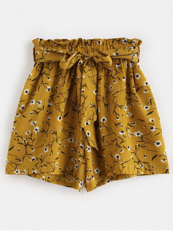 chic Belted High Waisted Floral Shorts - BEE YELLOW M