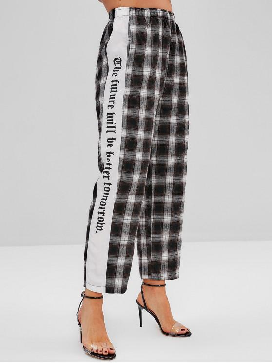 Bolsillos laterales a cuadros pantalones de pierna recta - Multicolor XL