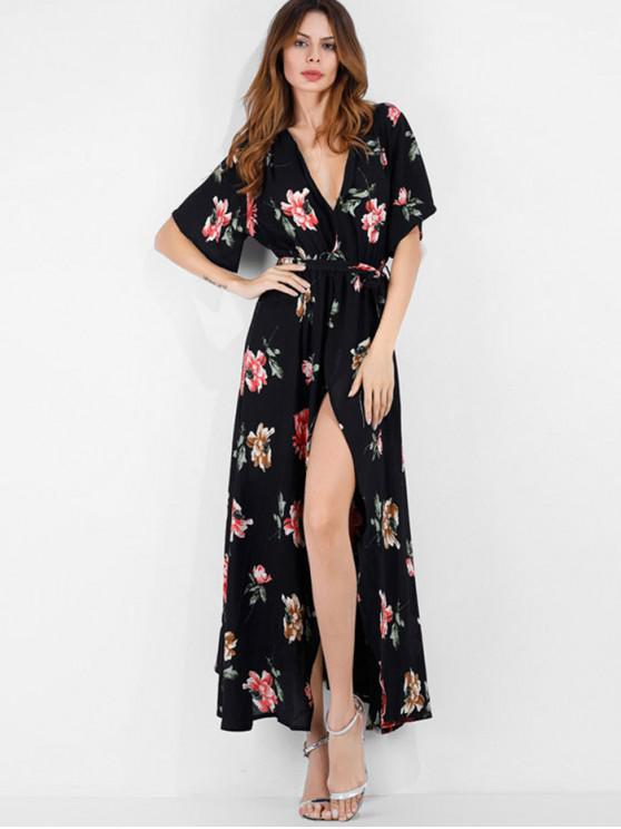 latest Surplice Floral Boho Belted Slit Dress - BLACK M