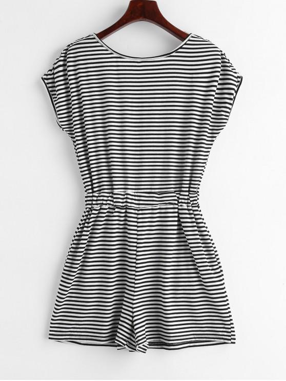 ladies Open Back Stripes Romper - BLACK XL