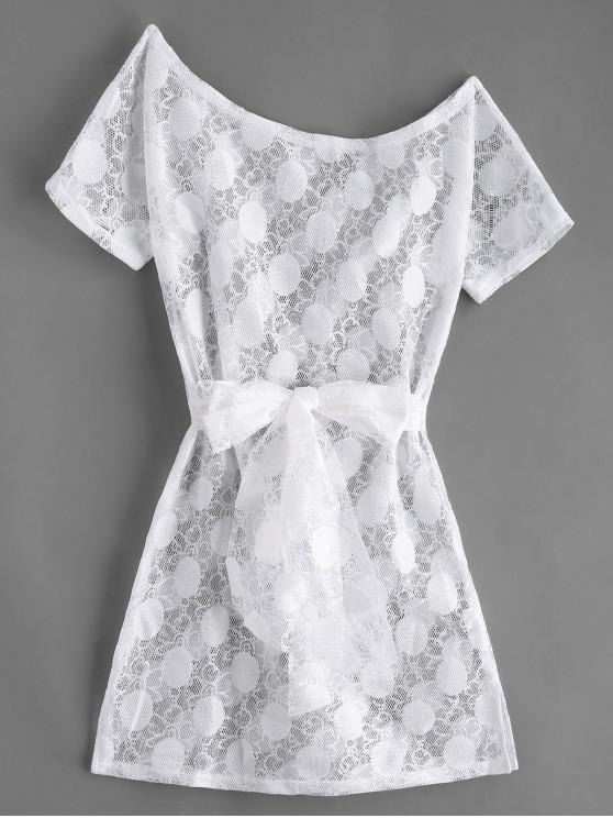 fancy Belted Lace Slit Cover Up Dress - WHITE M