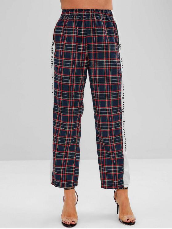 Pantalones a cuadros de talle alto con paneles de talle alto - Azul de Medianoche XL