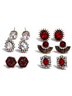 Small Vintage Rhinestone Faux Gem Stud Earrings Set - Oro