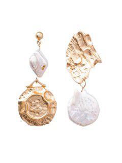Faux Pearl Unsym Irregular Shell Shape Earrings - Or