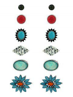 Vintage Flower Geometric Faux Gem Stud Earrings Set - Silver