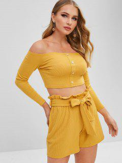ZAFUL Off Shoulder Buttoned Top And Shorts Set - Yellow M