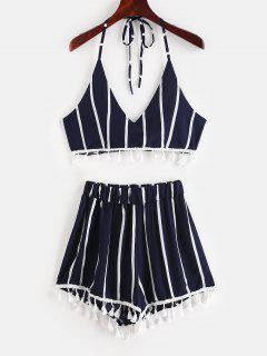 Striped Halter Crop Top Shorts Two Piece Set - Multi M