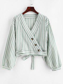 Buttoned Stripes Wrap Blouse - Cyan Opaque L