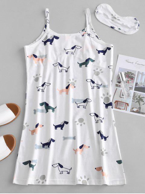 Robe Pyjama à Bretelle Chien Imprimé - Blanc 2XL Mobile