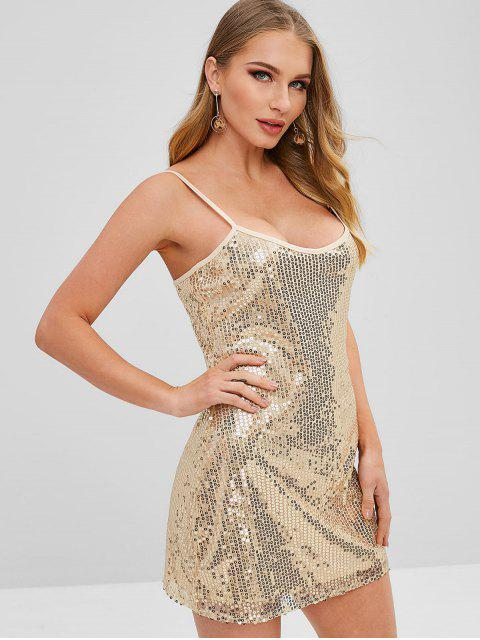 new ZAFUL Sequined Cami Dress - GOLD L Mobile