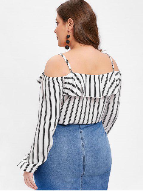 best ZAFUL Cold Shoulder Striped Plus Size Flounce Blouse - WHITE 1X Mobile