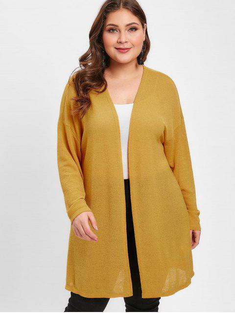 buy ZAFUL Plus Size Tunic Knit Cardigan - BEE YELLOW 4X Mobile
