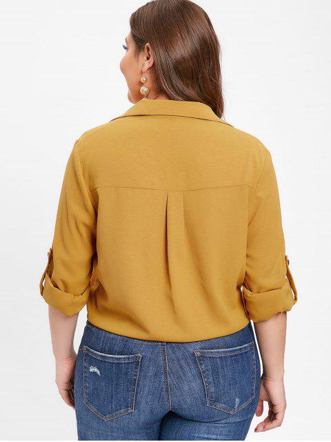 outfit ZAFUL Rolled Sleeve Plus Size Button Up Blouse - BEE YELLOW 2X Mobile