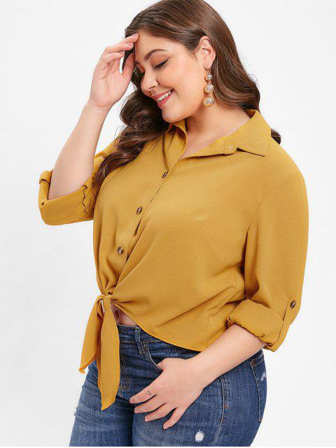 outfits ZAFUL Rolled Sleeve Plus Size Button Up Blouse - BEE YELLOW L Mobile