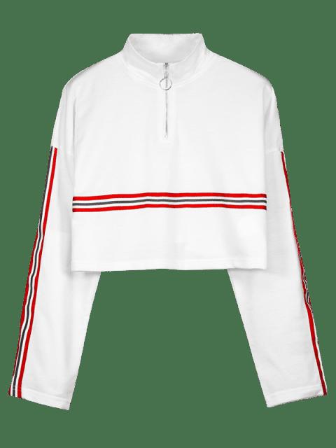 Gestreiftes Sweatshirt mit Reißverschluss - Weiß M Mobile