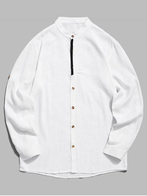 new Contrast Placket Sleeve Roll Up Shirt - WHITE XL Mobile