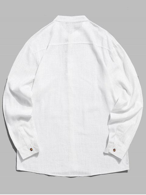 Chemise Décontractée Manches Roulées à Col Montant - Blanc S Mobile