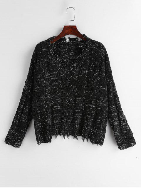 best Heathered Distressed V Neck Sweater - BLACK ONE SIZE Mobile