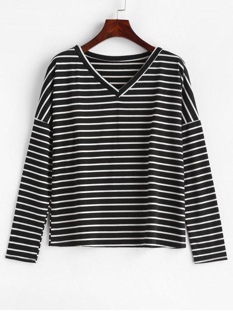 chic V Neck Striped Relaxed Tee - MULTI L Mobile