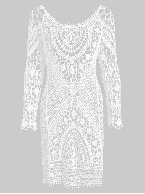 fashion Backless Crochet Mini Cover Up Dress - WHITE ONE SIZE Mobile