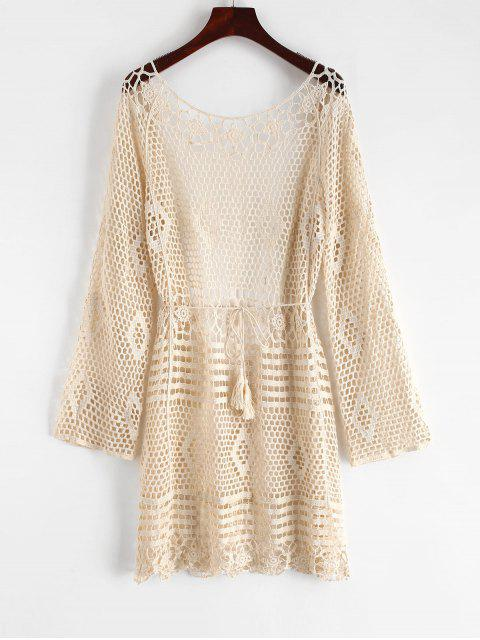 fancy Crochet Backless Cover Up Dress - WARM WHITE ONE SIZE Mobile