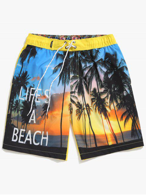 ladies Coconut Trees Sea Side Scenery Print Board Shorts - YELLOW L Mobile