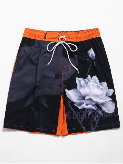 shop Lotus Letters Print Casual Beach Shorts - DARK ORANGE L Mobile