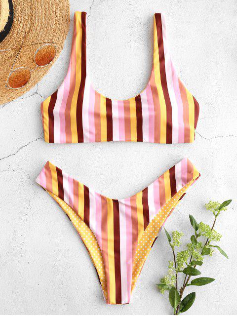 ladies ZAFUL Colorful Striped Scooped Bikini Set - MULTI-A L Mobile
