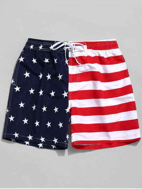 Pantalones cortos de tablero informal con estampado de bandera estadounidense - Rojo XS Mobile