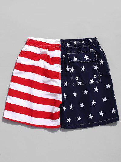 63b1e01855 ... American Flag Print Casual Board Shorts - Red M