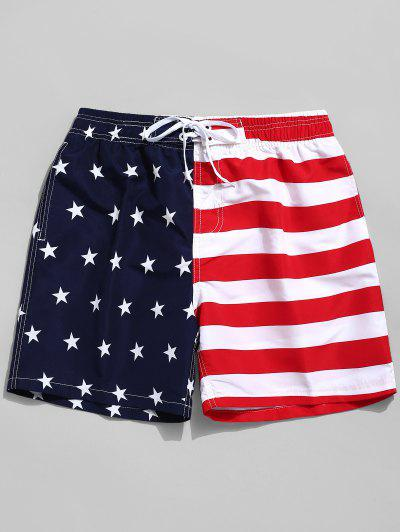 e334af7eaf American Flag Print Casual Board Shorts - Red M ...