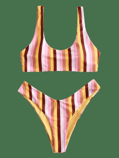 ZAFUL Colorful Striped Scooped Bikini Set, Multi-a