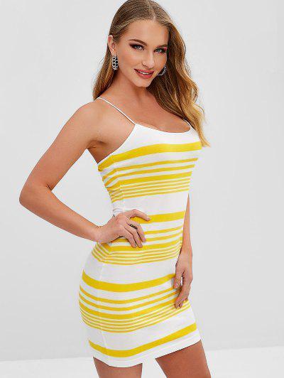 c8cefb3729a ZAFUL Stripes Cami Bodycon Dress - Yellow S