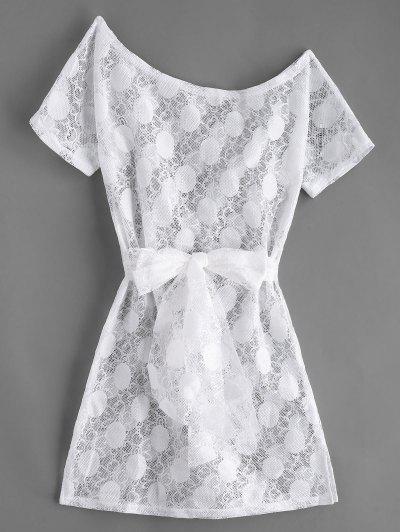 c5f1814c8a6 Robe Fendue Ceinturée En Dentelle - Blanc Xl