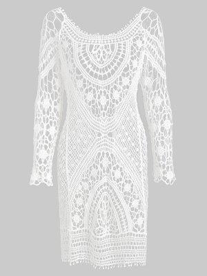 zaful Backless Crochet Mini Cover Up Dress