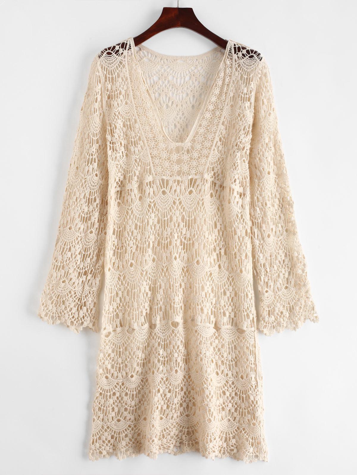Crochet V Neck Cover Up Dress, Warm white