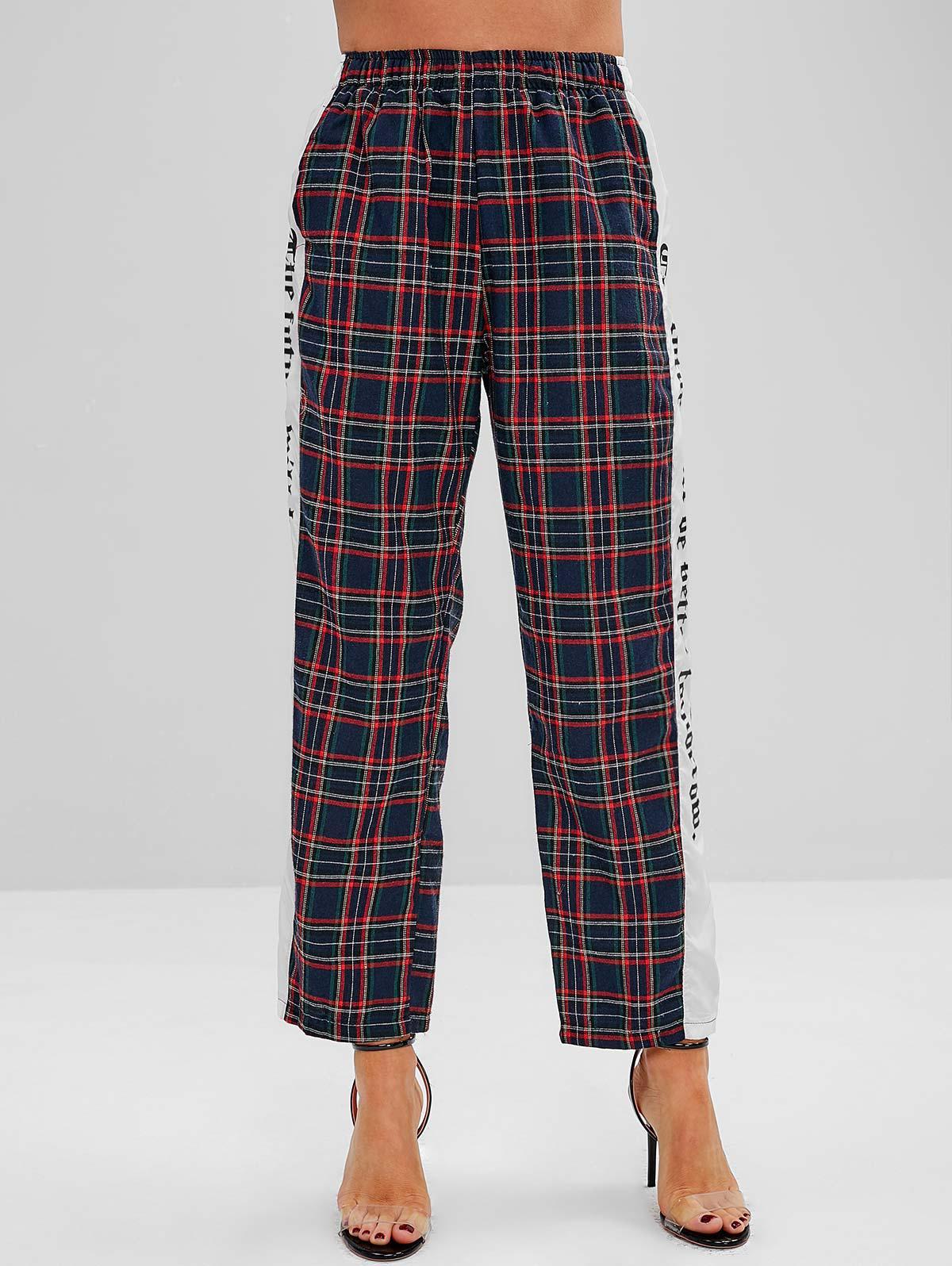 Straight Leg Paneled High Waisted Plaid Pants thumbnail