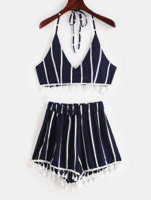 a3cbb45c32 26% OFF] 2019 Striped Halter Crop Top Shorts Two Piece Set In ROSSO ...