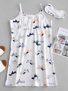فستان بطبعة كامي من كامي - أبيض M