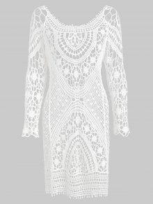 عارية الذراعين الكروشيه البسيطة التستر اللباس - أبيض