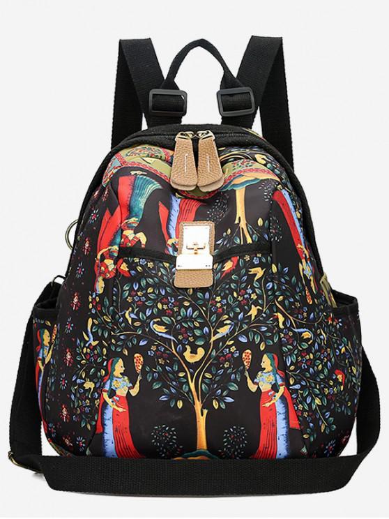 women Cartoon Printed Casual Book Bag Backpack - BLACK