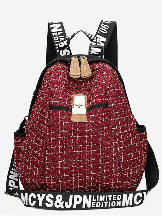 Letter Printed Plaid Casual Book Bag Backpack - Rojo