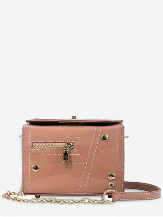 trendy Chain Zipper Decoration Square Cross Body Bag - PINK