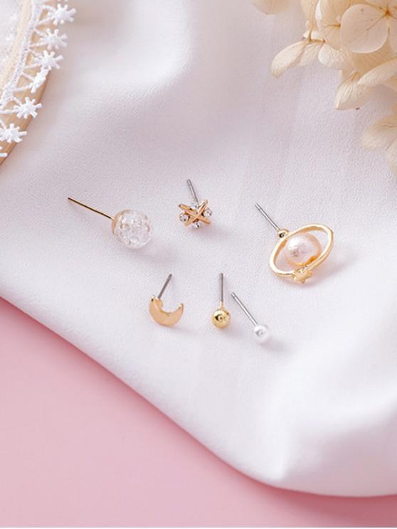 Faux Crystal Decoration Stud Earrings Set - Oro