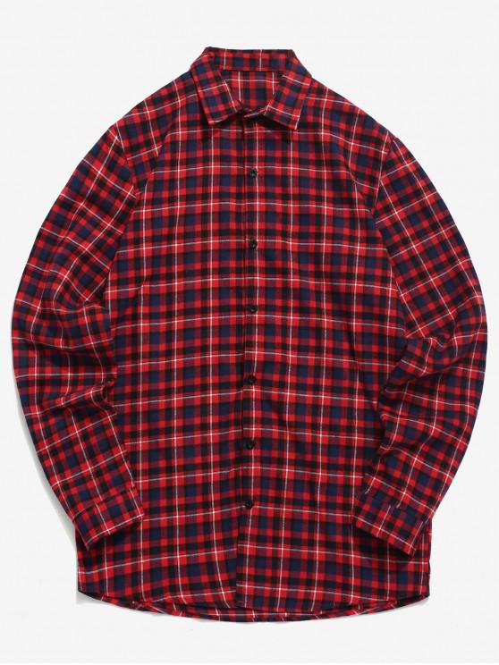 قميص تارتان طباعة زر - أحمر 2XL
