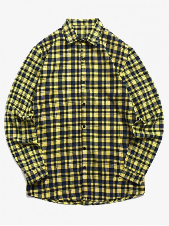 womens Tartan Print Button Up Shirt - GOLDENROD XL